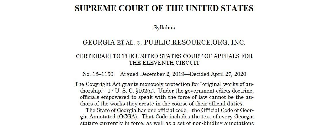 Georgia et al. v. Public.Resource.Org, Inc. USSC 27 April 2020